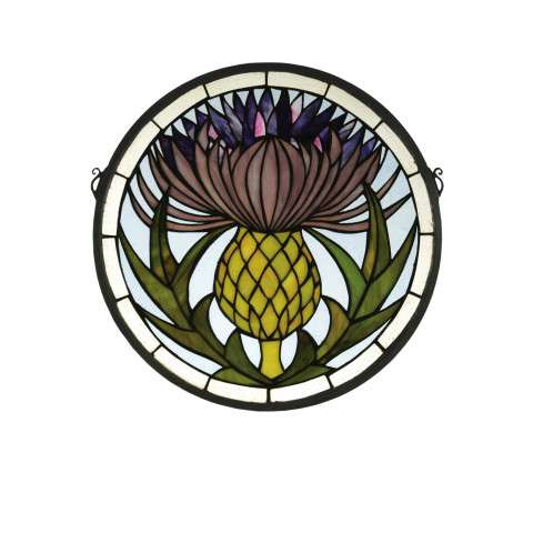 Meyda Tiffany 28436 Thistle Medallion Stained Glass Window in Copperfoil finish
