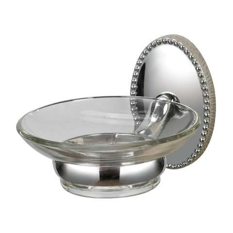 Cup Holder - Soap Dish Holder In Chrome/ Glass - Zinc and Metal and Glass