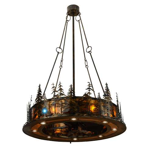 "Meyda 48"" Tall Pines Chandel-Air w/Up/Downlight/LED Spot in Antique Copper and Amber Mica w/Oil Bronze Fan"