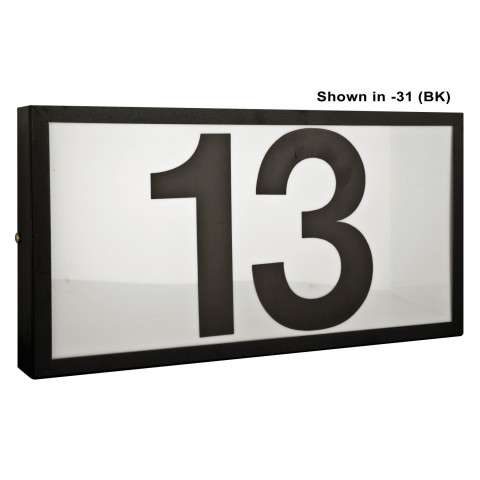 Sunset Lighting F10034-30 Large Address Light Standard 6 inch Numbers Black Vinyl with Transformer in White Finish