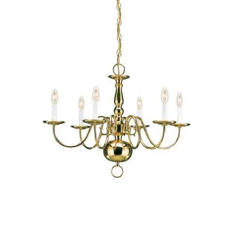Seagull Lighting 3411-02 Six-Light Traditional Chandelier in Polished Brass finish