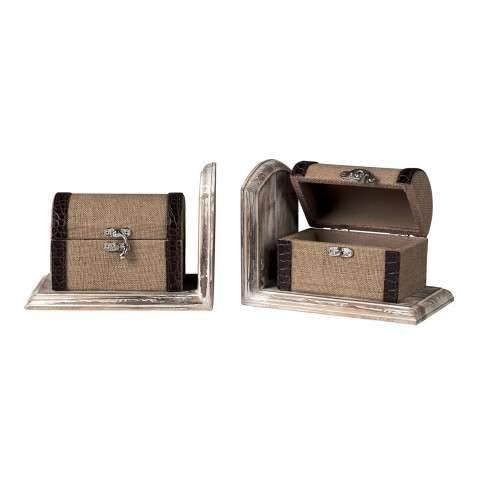 Bookends - Travellers Trunk Bookends - Wood and Linen