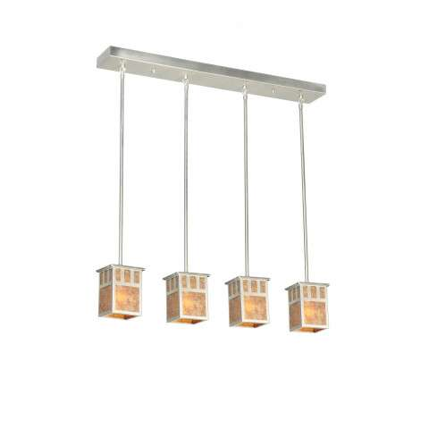 Meyda Tiffany 106381 Double Bar Mission 4 Lt Pendant in Brushed Nickel finish with Amber Mica