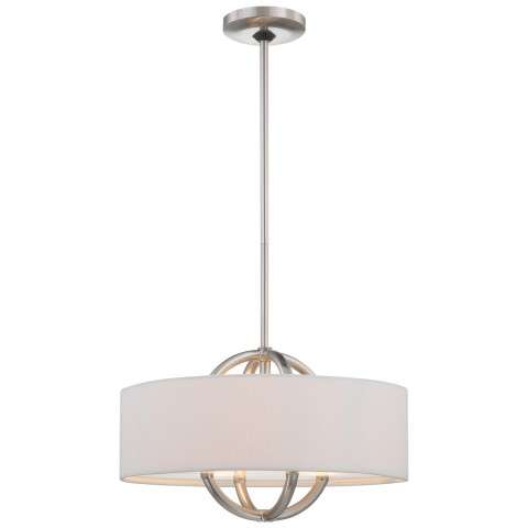 George Kovacs P075-084 3 Light Drum Pendant in Brushed Nickel finish with White Fabric Shade with Clear/Inside Etched Glass Diffuser