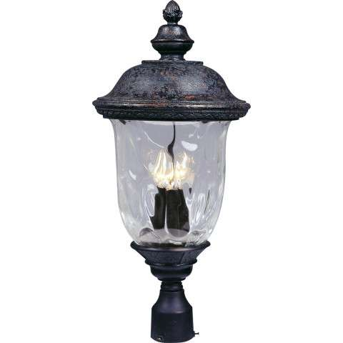 Maxim 3420WGOB Carriage House DC 3-LT Outdoor Pole/Post Lantern in Oriental Bronze with Water Glass glass.