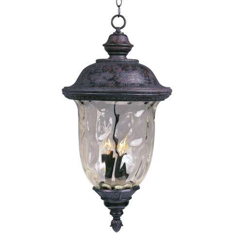 Maxim 3427WGOB Carriage House DC 3-Light Outdoor Hanging Lantern in Oriental Bronze with Water Glass glass.