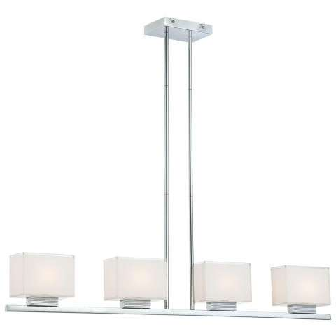 George Kovacs P128-077 4 Light Pendant in Chrome finish with Mitered Glass/White Inside
