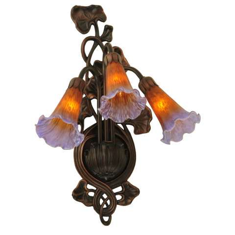 Meyda Tiffany 17205 Amber/Purple Pond Lily 3 Lt Wall Sconce in Mahogany Bronze finish