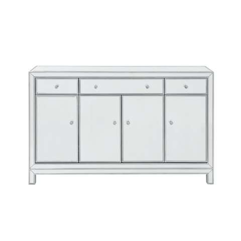 Buffet Cabinet 3 drawers 4 doors 56in. W x 13in. D x 36in. H in antique silver paint