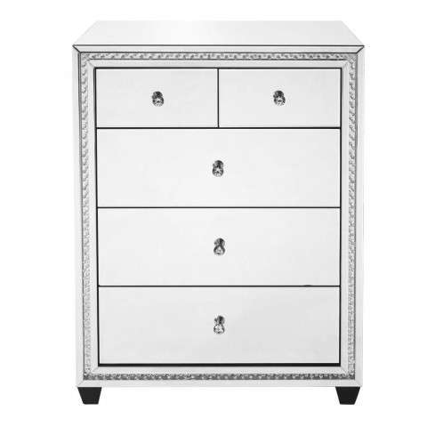 31.5 inch Crystal five drawers Cabinet in Clear Mirror Finish