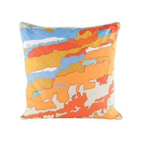 Orange Topography Pillow With Goose Down Insert in Digital Print