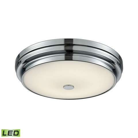 Garvey Round LED Flushmount In Chrome And Opal Glass - Small