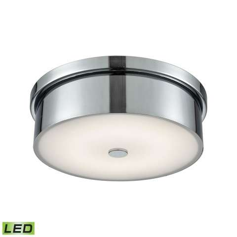 Towne Round LED Flushmount In Chrome And Opal Glass - Small