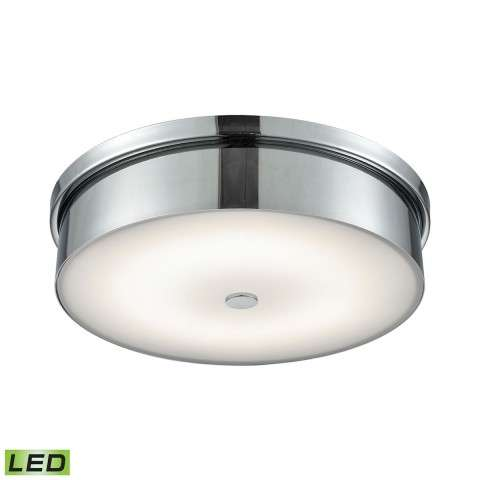 Towne Round LED Flushmount In Chrome And Opal Glass - Large