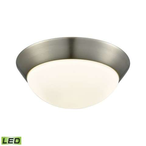 Contours 1 Light LED Flushmount In Satin Nickel And Opal Glass - Medium
