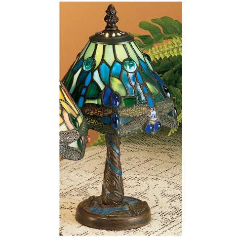Meyda Tiffany 26617 Tiffany Hanginghead Dragonfly W/ Twisted Fly Mosaic Base Mini Lamp