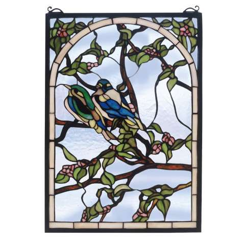 Meyda Tiffany 47966 Lovebirds Stained Glass Window in Bark Brown finish