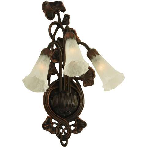 Meyda Tiffany 11846 White Pond Lily 3 Lt Wall Sconce in Mahogany Bronze finish