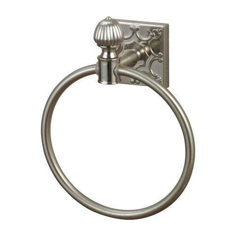 Towel Ring - Towel Ring In Brushed Steel With Embossed Back Plate - Zinc And Metal