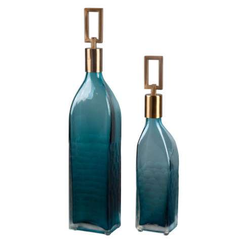 Uttermost Annabella Teal Glass Bottles - S/2
