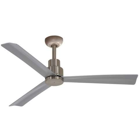 "Simple 52"" Ceiling Fan Outdoor In Brushed Nickel Wet - With Canopy"