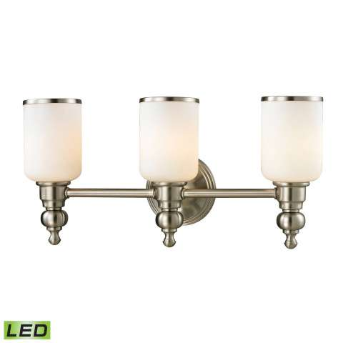 Bristol Collection 3 light bath in Brushed Nickel - LED - 800 Lumens (2400 Lumens Total) With Full…