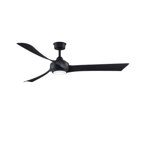 "Fanimation MAD8531BL Custom Wrap 64 Inch Ceiling Fan in Black. Shown with BPW8531-72BL 64"" Black Blades and LK8530BL LED Light Kit."