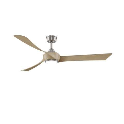 "Fanimation MAD8531BN Custom Wrap 64 Inch Ceiling Fan in Brushed Nickel. Shown with BPW8531-64N 64"" Natural Wood Colored Blades and LK8530BN LED Light Kit."