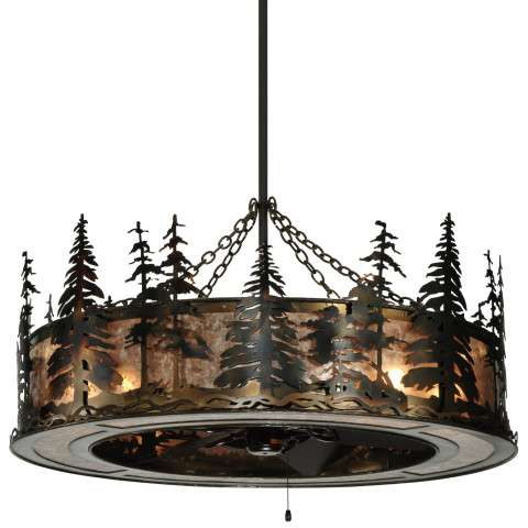 "Meyda 45"" Tall Pines Chandel-Air W/Uplights in Antique Copper and Silver Mica w/Oil Bronze Fan"