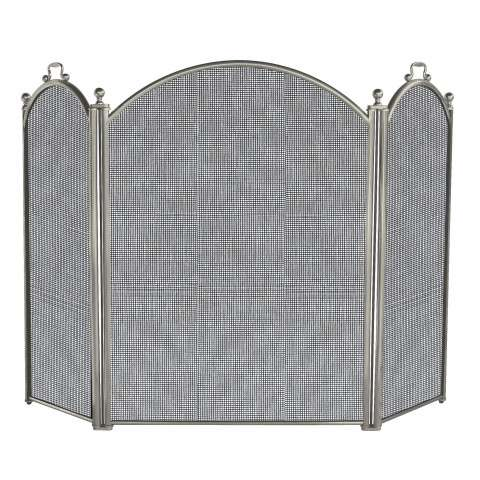 "3 Panel Satin Pewter Large Diameter Folding Screen - 52"" Wide x 34"" Tall"