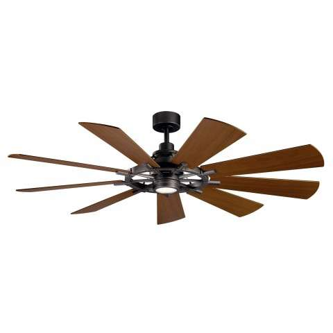 Kichler 65 Inch Gentry LED Ceiling Fan Model 300265DBK - Walnut Baldes