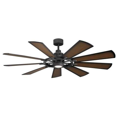 Kichler 65 Inch Gentry LED Ceiling Fan Model 300265DBK in Distressed Black with Shadowed Walnut Blades
