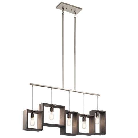 Industrial Frames Lodge/Country/Rustic Linear Chandelier 5Lt In Classic Pewter