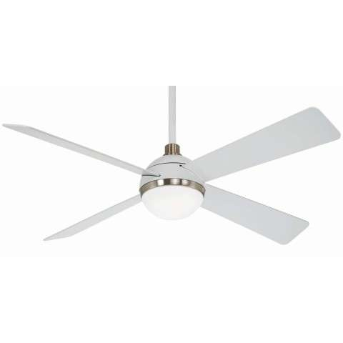 Minka Aire F623L-WHF/BN 54 Inch Orb Ceiling Fan in Flat White with Brushyed Nickel