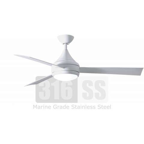 Matthews Fan Company DA-WH-WH  52 Inch 316 Marine Grade Stainless Steel Ceiling Fan in White with White