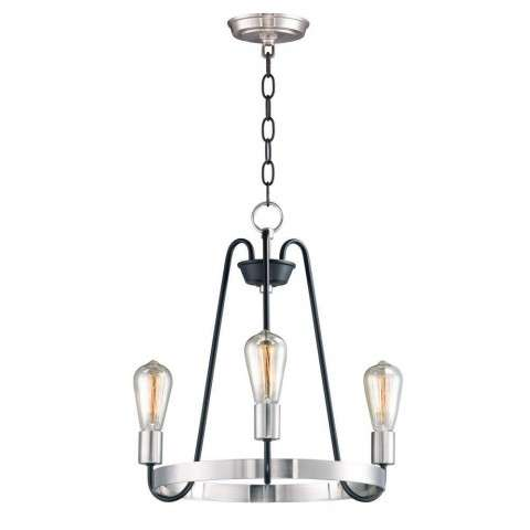 Haven 3-Light Chandelier in Black / Satin Nickel