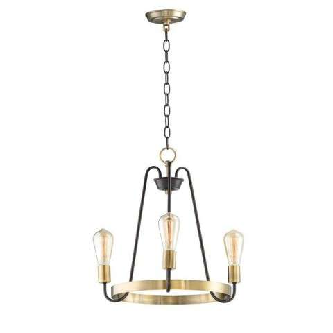 Haven 3-Light Chandelier in Oil Rubbed Bronze / Antique Brass