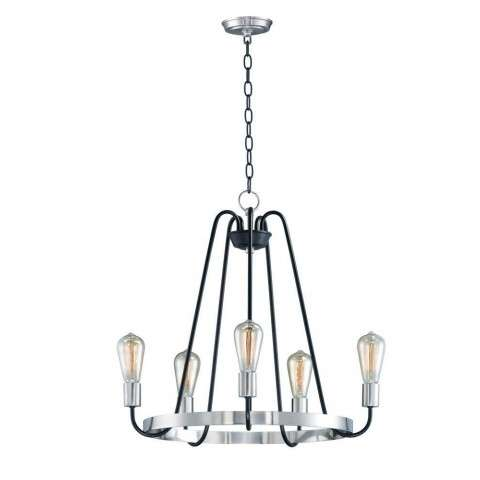 Haven 5-Light Chandelier in Black / Satin Nickel