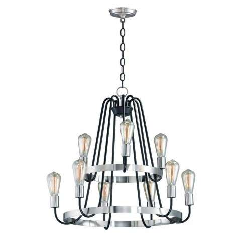 Haven 9-Light Chandelier in Black / Satin Nickel