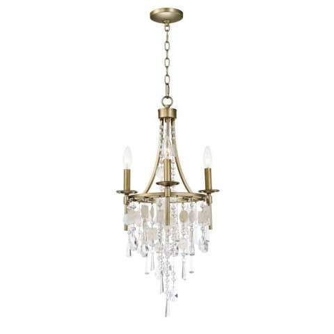 Cebu 3-Light Chandelier in Capiz / Gold Silver