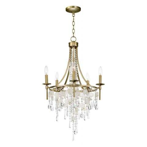 Cebu 5-Light Chandelier in Capiz / Gold Silver