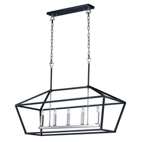 Abode 5-Light Chandelier in Textured Black / Polished Nickel