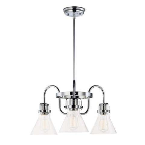 Seafarer 3-Light Chandelier With Bulbs in Polished Chrome