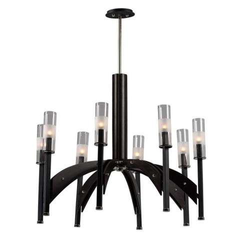 Merge 8-Light Chandelier in Black / Wenge