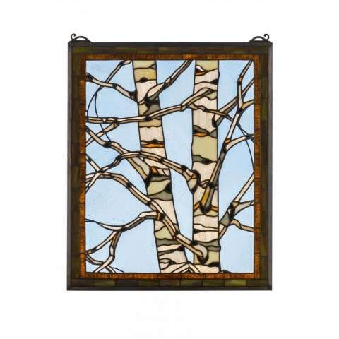 "24""W X 19""H Birch Tree in Winter Stained Glass Window"