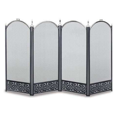 Napa Sausalito 4 Panel Folding Screen - Satin Nickel and Black