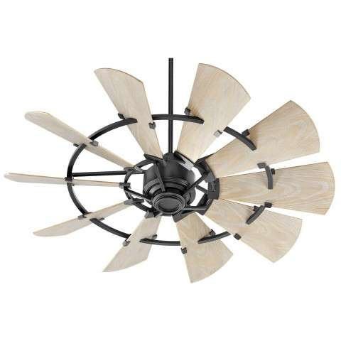 Quorum 52 Inch Windmill Ceiling Fan Damp Rated Model 195210-69 in Noir Black with Weathered Oak blades