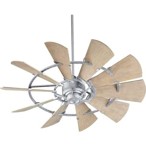 "52"" Quorum Windmill Ceiling Fan Damp Rated Model 195210-9 in Galvanized"