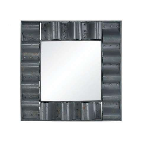 Haute Tin Roof Wall Mirror In Rusted Grey