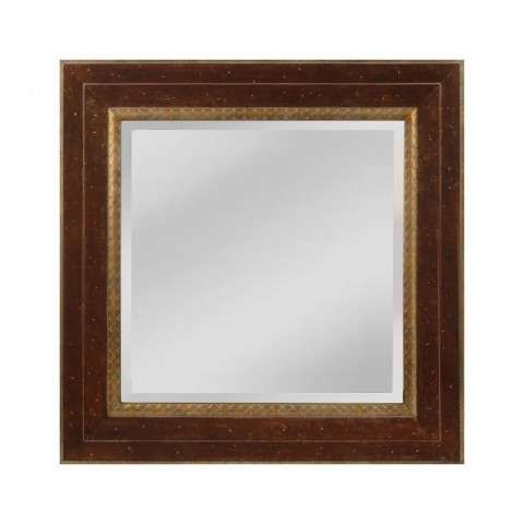 Darcey Wood Frame Mirror In Walnut And Roman Gold - Small In Roman Gold